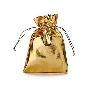 30 blickdichte Organzabeutel, Organzasäckchen in Gold metallic, Geschenkverpackung, Adventskalender, Dekoration, Party-Deko, glänzend metallisch, Weihnachten, Gold (20x13cm)