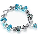 ATEIELLI® Bracciale Charms Azzurro Vetro Cristalli Smalto Beads Regalo #B36155