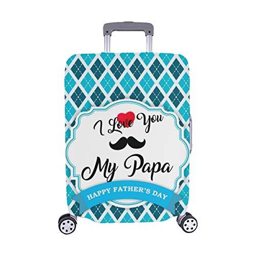(Nur abdecken) Happy Fathers Day Gruß Schnurrbart Design Staubschutz Trolley Protector case Reisegepäck Beschützer Kofferbezug 28,5 X 20,5 Zoll