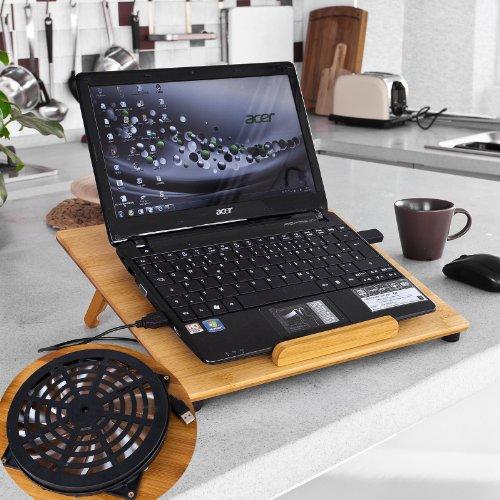 Preisvergleich Produktbild SoBuy® Cooling Pad, Notebook Kühler, Notebookständer aus Bambus mit Lüfter FBT27-N