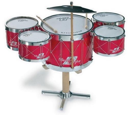 Schlagzeug mit fünf Trommeln und einem Becken auf einem Holzständer, inkl. 2 Holzschlegeln, fördert das Musik- und Taktgefühl, für kleine Rockstars ab 3 Jahren