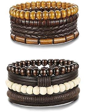 Sailimue 4-8Pcs Holz Perlen Leder Armband für Herren Damen Armbänder Leder Cuff Armband Elastik