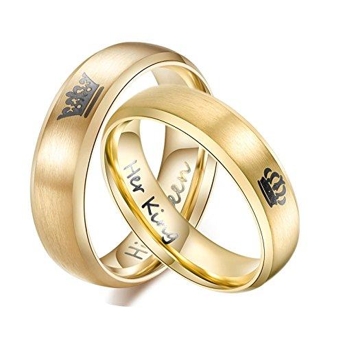 Daesar 1 Paar Ringe für Damen Herren Verliebte Edelstahl Ringe Krone King Queen Paarringe Gold EheringDamen Gr. 60 (19.1) & Herren Gr. 54 (17.2)