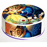 """Beauty and the Beast 7.5"""" Inch PERSONALISED Round Edible Cake Topper Decoration - Printed on 0.7mm thick Rice Paper / Edible Wafer - Complete with FREE Banner!"""