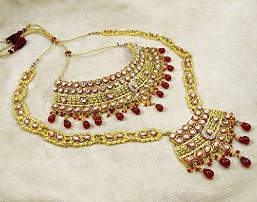 Banithani Concepteur De Bollywood Indian Collier De Mariée Mariage Fixé Bijoux Traditionnels rouge