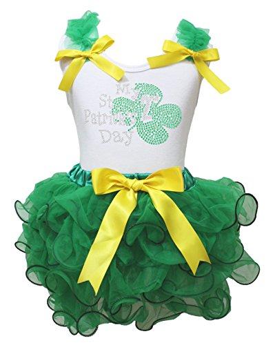 My 2nd ST PATRICK Tag Kleid Weiß Baumwolle Shirt Kelly Green Blütenblatt Rock Set–74bis 122 Gr. 4-5 Jahre, grün