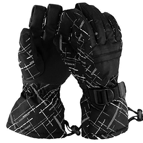 Guanti invernali da sci fitzulam,fodera calda antivento impermeabile guanti da sci per bambini termici con tasche con cerniera guanti di protezione dita per ciclismo da esterno per 9-14 anni (grigio)