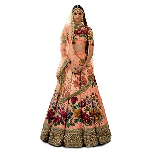 Zeel Clothing Silk Lehenga Choli (ZC-7019_Peach_Free Size)