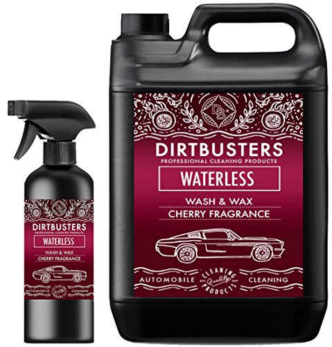 Dirtbusters Waterless Car Wash & Wax Autopfelegemittel Reiniger Zum Waschen Und Wachsen, Kirschduft, 5Liter + 500Ml, Reinigungsspray Leicht Auftragen Und Entfernen, Hochwertiger Wachs Für Schlierenfreie Sauberkeit