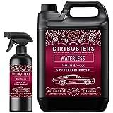 Waterless Car Wash Cera y con fórmula de 5litros + 500ml spray limpiador de coche fácil Spray cereza de fragancia en limpiar Premium Grade libre de cera de polímero para Streak Valeting Grado limpio