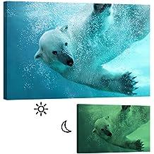 Images startoshop, nachleuchtende images de toile ou autocollant papier peint photo, l'ours polaire Décoration Murale, catégorie Animaux.