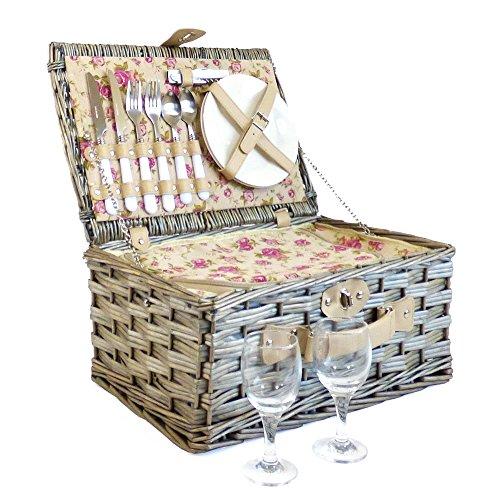 Luxus Garten Rose Picknickkorb für 2Personen mit Zubehör-Geschenk Ideen für Weihnachten Geschenke, Geburtstage, Hochzeiten, Jubiläen und Corporate