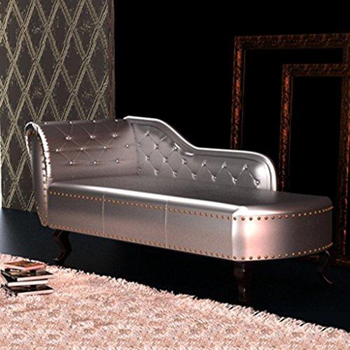 vidaXL Chesterfield Recamiere Chaiselongue Lounge Sofa Chaise Relax Liege Silber