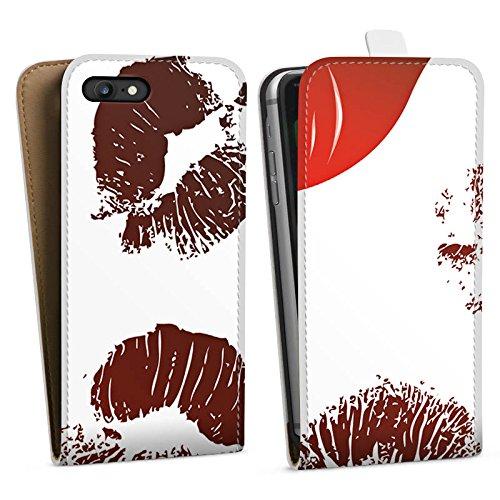 Apple iPhone X Silikon Hülle Case Schutzhülle Kiss Lips Love Rot Downflip Tasche weiß