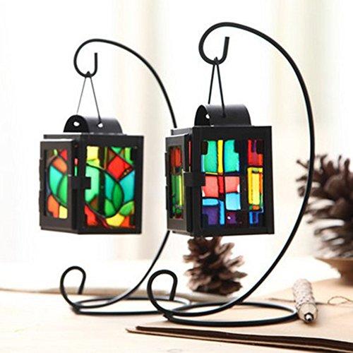 SWIDUUK Eisen Craft Colorful aus Glas Zum Aufhängen-Laterne Kerzenhalter Ständer Home Raum Hochzeit Decor Geschenk Geschenk–Schwarz, Schwarz, S