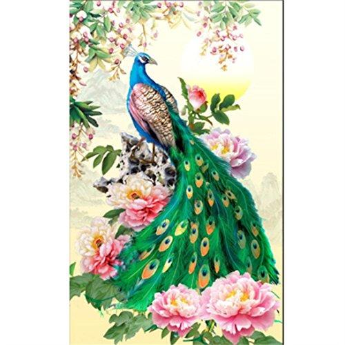 Xshuai 5D DIY Diamant Stickerei Malerei Pfau chinesischen Stil Mosaik Stich Handwerk Kit Cross Tools kreative wasserdichte Leinwand Dekoration neue Kunst Wandhauptdekor (As picture)