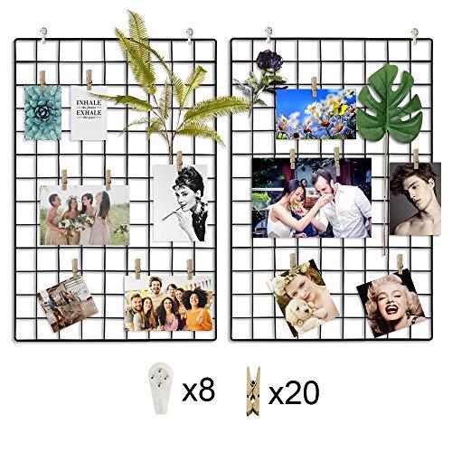 CODRATIO 2 Stück Eisen Gitter der Foto Wand Deko Grid Panel,Wand Gitter Schwarz mit Haken und Holzklammern für Schlafzimmer, Wohnzimmer, Büro, Küche, 64 x 45 cm -