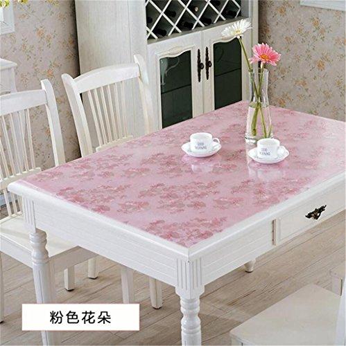 Pvc-tablecloth pellicola protettiva per tavolo fiori rosa tovaglia rettangolare in pvc - anti-olio resistente all'acqua cucina antiaderente da pranzo copritavola in vetro da cucina , thick 1mm , 70*70cm