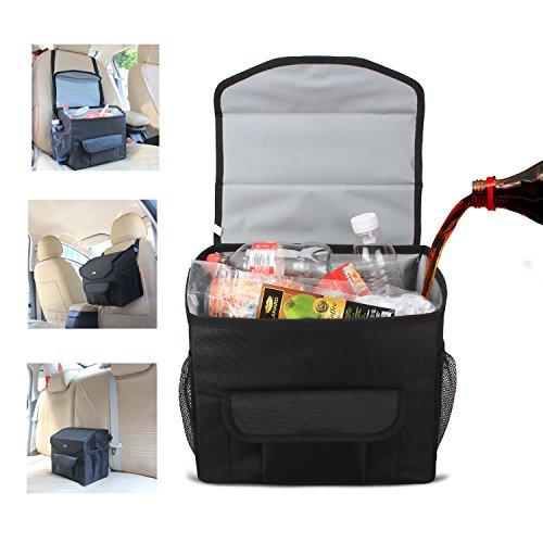 Luxja cestino da auto, borsa per auto, borsa bagagliaio auto con coperchio e tasche di archiviazione, nero