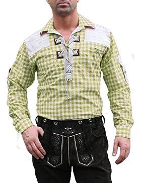 Trachtenhemd für Trachten Lederhosen mit Verzierung Giftgrün/kariert