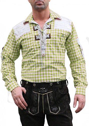 Trachtenhemd für Trachten Lederhosen mit Verzierung Giftgrün/kariert, Hemdgröße:M