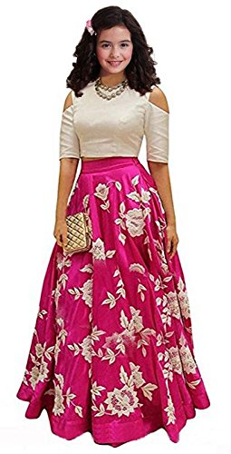 Market Magic World Kid Party Wear Pink Banglory Silk Semi-Stitched Dress for Girl (Gown_Free Size_8-12 year Girl)
