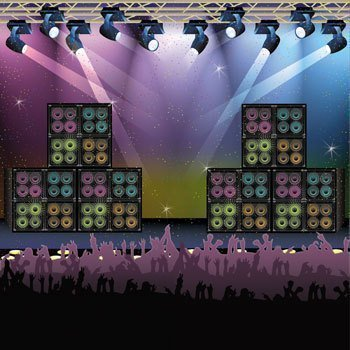 Rock Star Backdrop Banner - Concert Stage Karaoke Background Party Decoration by Fun Express by Fun Express - Karaoke-banner