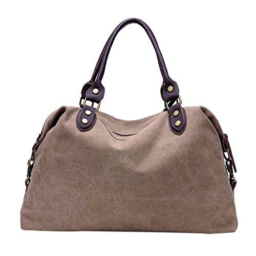 Frauen Casual Leinwand-Tasche Schultertasche Reisetasche Brown