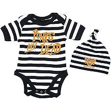 BABY PUNK Sicherheitsnadel Baby-Body schwarz//weiss gestreift