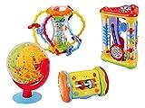 Jouet Kit XXL (Alsino 2249) Set idée cadeau nouveau né bébé ou petit enfant fille garçon Cube Eveil Roue multi-activités avec boîte à musique, boulier et miroir et autres Jouets multi-activités sympa