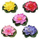 HUAESIN 5 Stücke Künstliche Seerosen Schwimmende Lotusblüte Künstliche Lotus Floating Wasserlilie Teichpflanzen Teich Deko für Fischteich Wasser Landschaft Aquarium