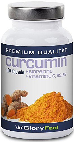 Curcumin mit Bioperin - Hochdosiertes Curcuma Extrakt + Schwarzer Pfeffer - Vegane Kapseln