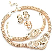 4 Pcs Jewelry Set Crystal Round-shaped Necklace, Bracelet, Ring and Earrings Set Women Girls (Gold)