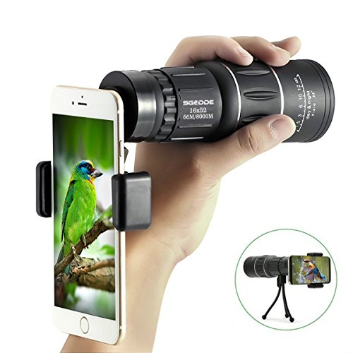 Super Clear 16×52 Monocular Telescope,SGODDE HD Monocular, Dual Focus Optics Zoom Portable Monocular for BirdWatching,Climbing(Phone Adapter and Tripod)