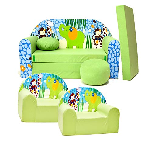 millybo CAMERON Sofa Kindersofa + 2 sessel 3-er Set Minicouch + 2 Kindersessel grün