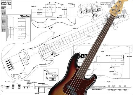 Plan der Fender Precision Bass mit 5 Saiten - Full-Scale Print