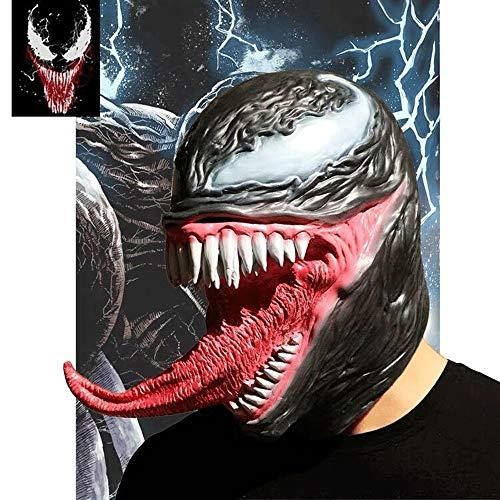 Einfach Kostüm Erwachsene Superhelden Für - Venom Mask Scary Latex Helm, Halloween Spielzeug Superheld Venom Kostüme für Erwachsene Cosplay Party Kostüm Zubehör Prop Film schwarz