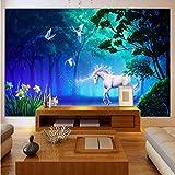 Personalizado Estéreo 3D Cuento de hadas Bosque Fluorescente White Horse Foto Mural Papel tapiz de la sala de estar Fondo Fresco, 450x310cm