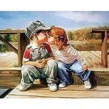XIAOBAOZISZYH Peinture Numérique Numérotée pour Adultes sans Cadre Baiser Peinture Numérique Oeuvre d'art Moderne Numérique Murale Dessiné À La Main Peinture À l'huile.40 × 50Cm