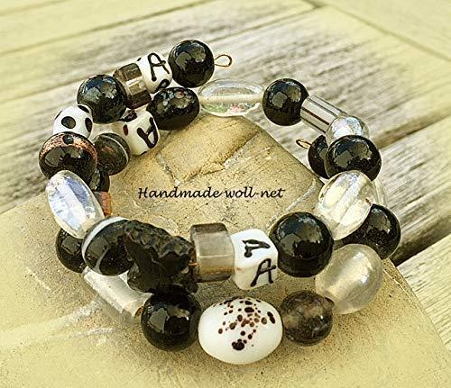 Spiralarmband schwarz weiß 2-fach für kleine Handgelenke-ca. 17 cm Umfang, Glasperlen, schwarz-weiß -