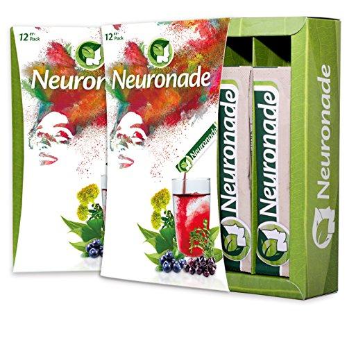 (Neuronade - Getränk für Konzentration I Brain Food mit wichtigen Vitaminen und Pflanzenstoffen wie Ginkgo, Brahmi, Rhodiola und Vitamin B12 I koffeinfrei und vegan – 1er Pack (1 x 12 Stück))