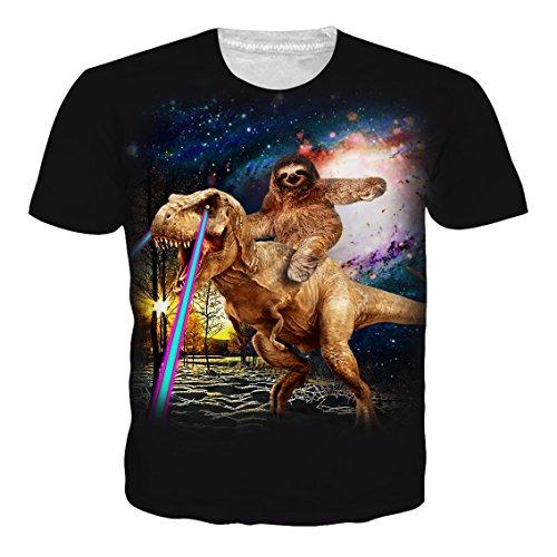 Leapparel Unisex 3D Digital Imprimé Personnalisé Manche Courte T-Shirt Personnalisé Tee-Shirts Sloth Ride Dinosaur
