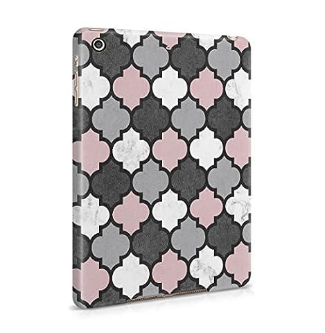 Grey & Rose Gold Moroccan Tiles Pattern Coque De Protection Fine En Plastique Housse Etui Rigide Pour iPad Mini 2 & Mini 3 Slim fit Case Cover