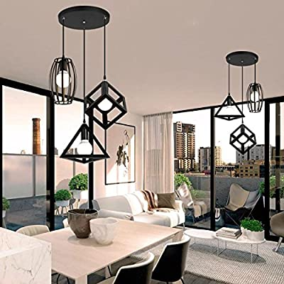 Retro Metal Pendant Light Simple Creative Flush Mount Fixture Triangel and Cube and Drums Shade with 3 Lights,black