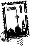 Wandtattoo Skyline Schwerte Stadt Stamps Briefmarke Marke Wand Aufkleber Türaufkleber Möbelaufkleber Autoaufkleber Wohnzimmer 5M239, Farbe:Schwarz Matt, Hohe:75cm