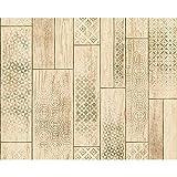 AS Creation Holzplatte Muster Tapete Küche Badezimmer Stammes- Motiv - Beige Braun 330894