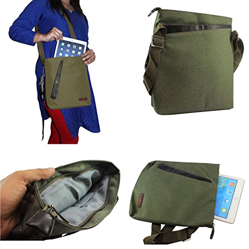 DMG CoolBell Soft Canvas Sling Bag Carrying Case with Accessory Pockets for Samsung Galaxy Tab S SM-T805 Tablet (Olive)  available at amazon for Rs.799