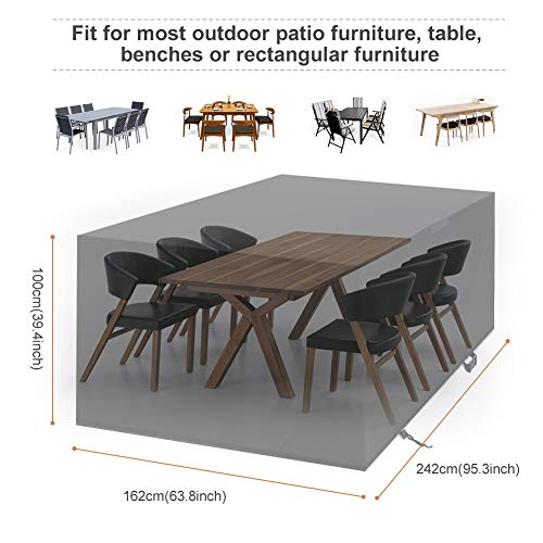 YISSVIC Garden Furniture Cover Waterproof Furniture Covers Outdoor Patio Furniture Covers Rectangular Windproof and Anti-UV Garden Table Covers 242x162x100cm (242x162x100cm)