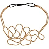 Fashion Women Beauty Gold Knitted Hollow Out Flower Elastic Headband Hair Band Style C (style C)