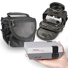 Orzly bolsa de viaje para la Nintendo NES Classic Edition (Nuevo Modelo 2016 Versión Mini de la Consola NES) – Perfecto para Consola + Cable + 2 Mandos – Incluye Correa + Asa – NEGRO